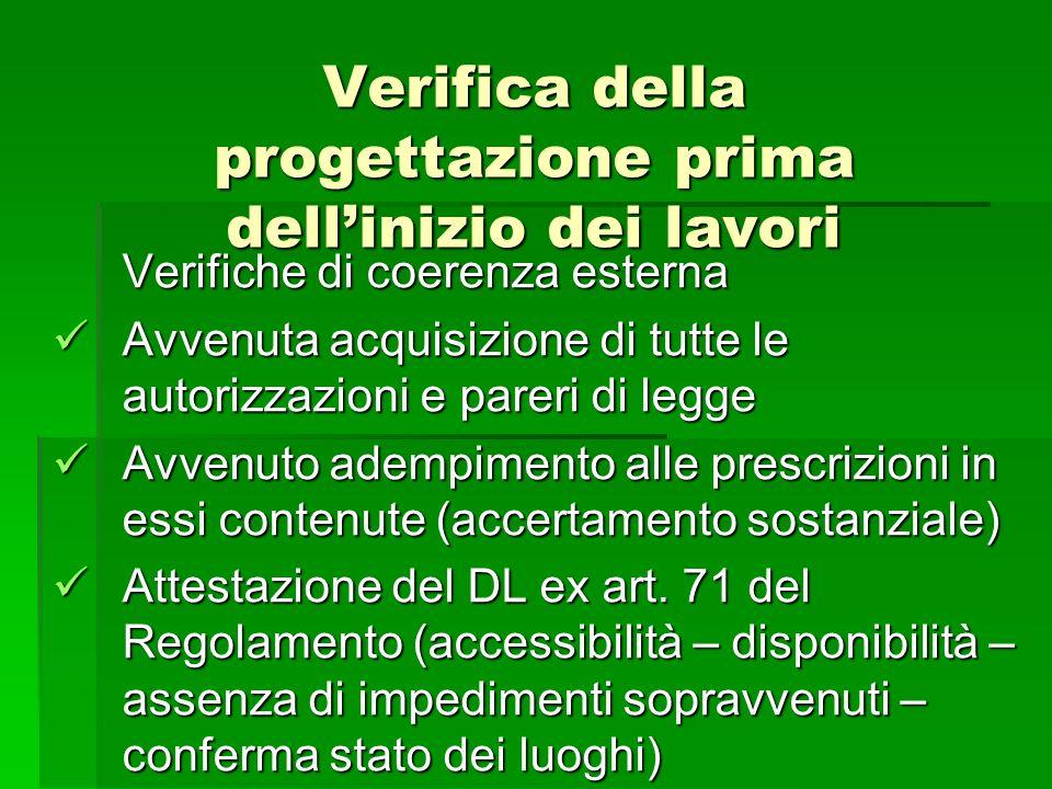 Verifica della progettazione prima dellinizio dei lavori Verifiche di coerenza esterna Avvenuta acquisizione di tutte le autorizzazioni e pareri di le