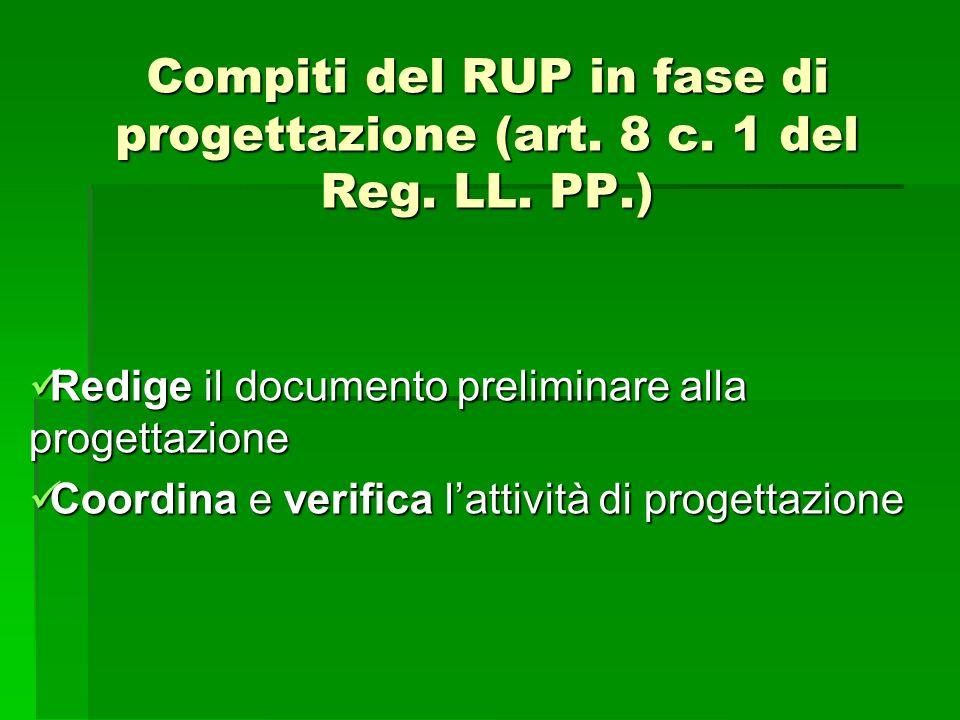 Compiti del RUP in fase di progettazione (art. 8 c. 1 del Reg. LL. PP.) Redige il documento preliminare alla progettazione Redige il documento prelimi