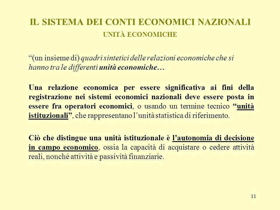 11 IL SISTEMA DEI CONTI ECONOMICI NAZIONALI UNITÀ ECONOMICHE (un insieme di) quadri sintetici delle relazioni economiche che si hanno tra le different