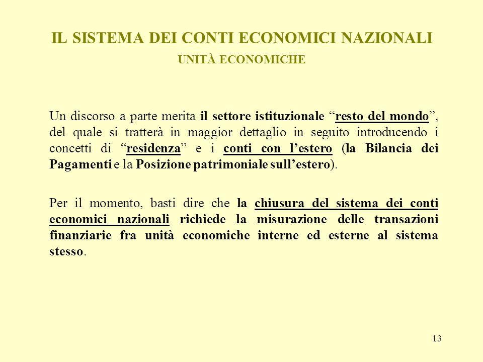 13 IL SISTEMA DEI CONTI ECONOMICI NAZIONALI UNITÀ ECONOMICHE Un discorso a parte merita il settore istituzionale resto del mondo, del quale si tratter