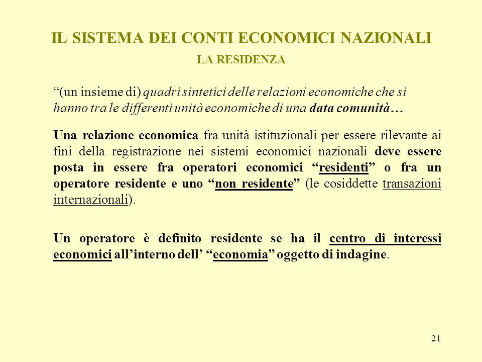 21 IL SISTEMA DEI CONTI ECONOMICI NAZIONALI LA RESIDENZA (un insieme di) quadri sintetici delle relazioni economiche che si hanno tra le differenti un