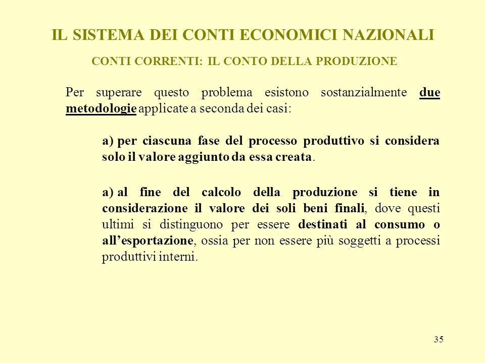 35 IL SISTEMA DEI CONTI ECONOMICI NAZIONALI CONTI CORRENTI: IL CONTO DELLA PRODUZIONE Per superare questo problema esistono sostanzialmente due metodo
