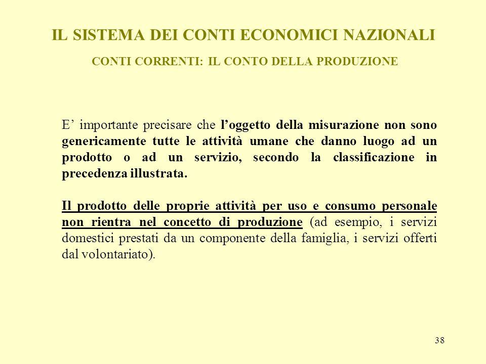 38 IL SISTEMA DEI CONTI ECONOMICI NAZIONALI CONTI CORRENTI: IL CONTO DELLA PRODUZIONE E importante precisare che loggetto della misurazione non sono g