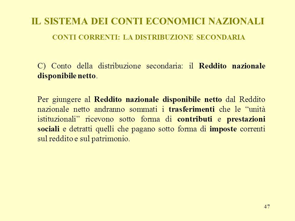 47 IL SISTEMA DEI CONTI ECONOMICI NAZIONALI CONTI CORRENTI: LA DISTRIBUZIONE SECONDARIA C) Conto della distribuzione secondaria: il Reddito nazionale