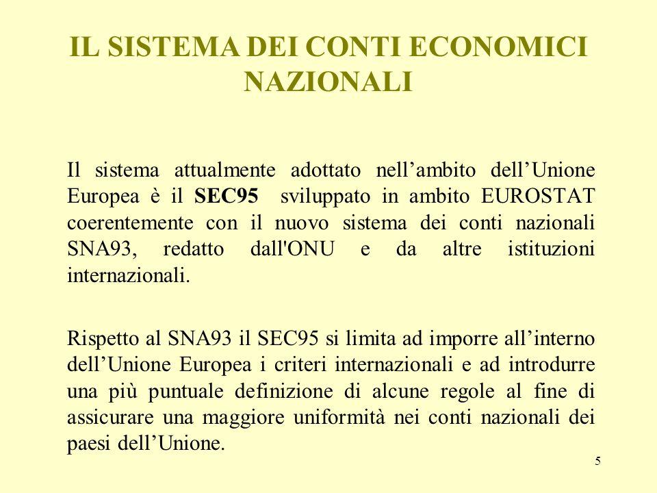 5 IL SISTEMA DEI CONTI ECONOMICI NAZIONALI Il sistema attualmente adottato nellambito dellUnione Europea è il SEC95 sviluppato in ambito EUROSTAT coer