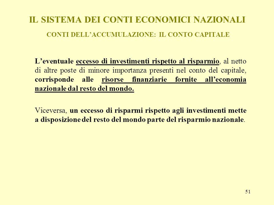 51 IL SISTEMA DEI CONTI ECONOMICI NAZIONALI CONTI DELLACCUMULAZIONE: IL CONTO CAPITALE Leventuale eccesso di investimenti rispetto al risparmio, al ne