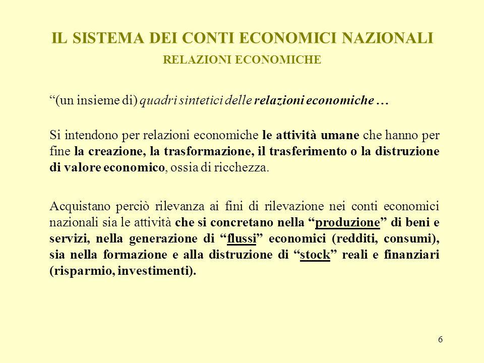 7 IL SISTEMA DEI CONTI ECONOMICI NAZIONALI RELAZIONI ECONOMICHE La produzione è definita come un flusso di beni e servizi derivante dallattività di una unità istituzionale tramite limpiego di beni e servizi e di fattori produttivi (lavoro e capitale).