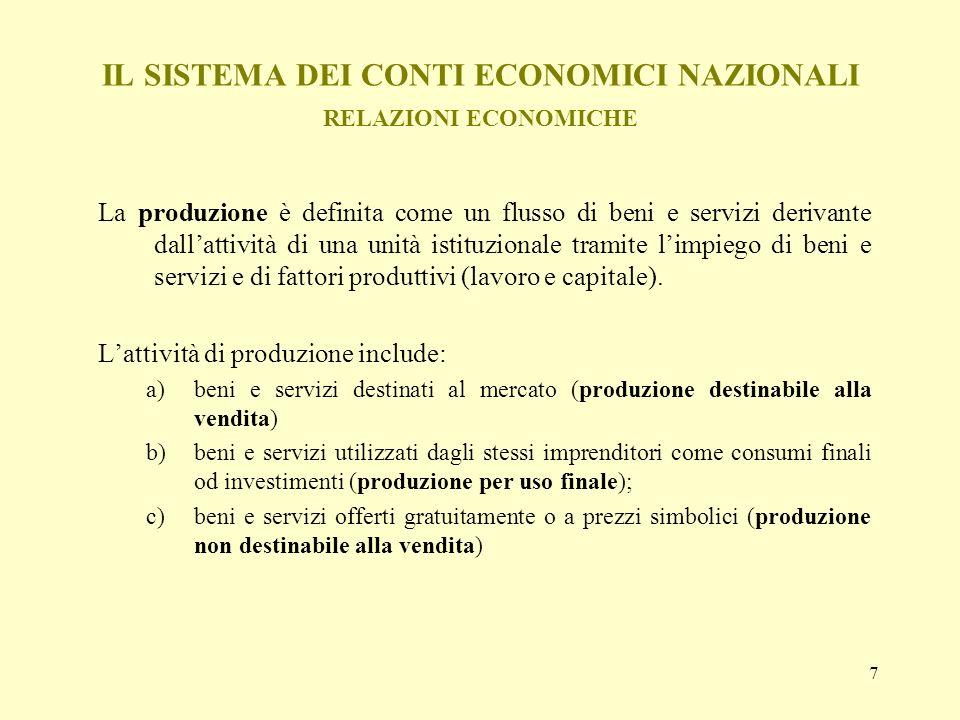 7 IL SISTEMA DEI CONTI ECONOMICI NAZIONALI RELAZIONI ECONOMICHE La produzione è definita come un flusso di beni e servizi derivante dallattività di un