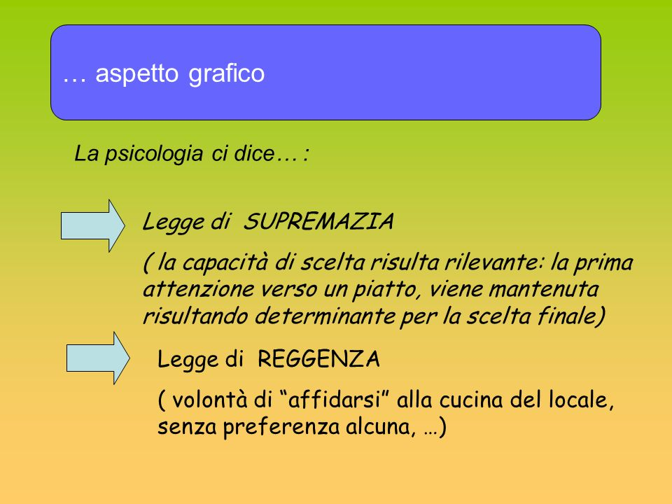 … aspetto grafico La psicologia ci dice… : Legge di SUPREMAZIA ( la capacità di scelta risulta rilevante: la prima attenzione verso un piatto, viene m