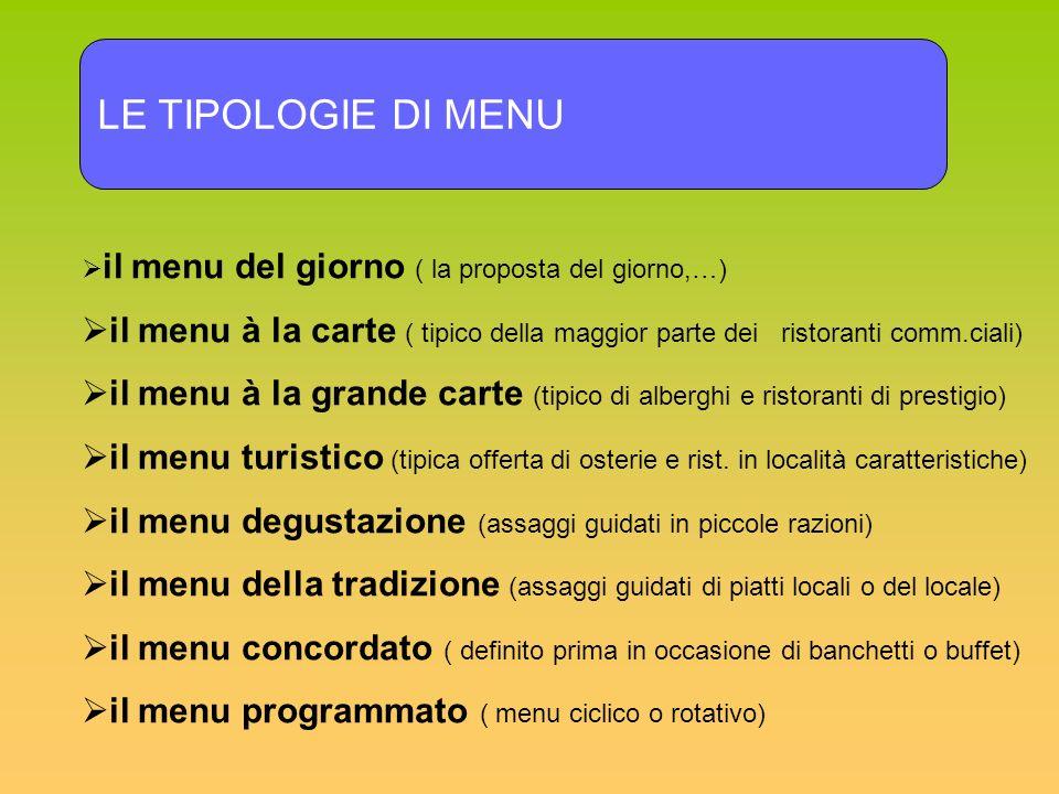 LE TIPOLOGIE DI MENU il menu del giorno ( la proposta del giorno,…) il menu à la carte ( tipico della maggior parte dei ristoranti comm.ciali) il menu