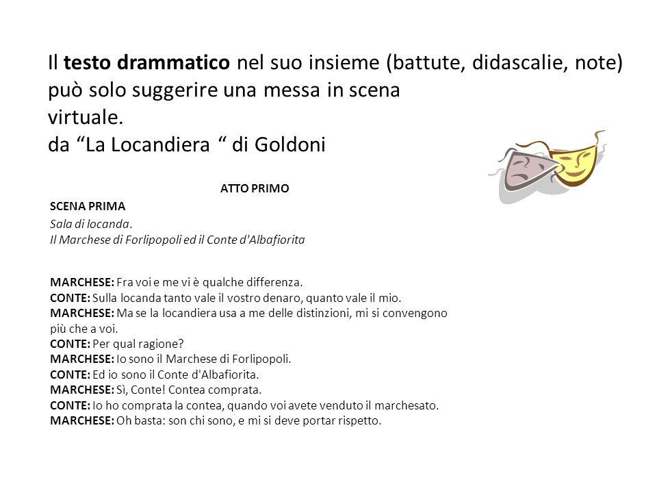 Il testo drammatico nel suo insieme (battute, didascalie, note) può solo suggerire una messa in scena virtuale. da La Locandiera di Goldoni ATTO PRIMO