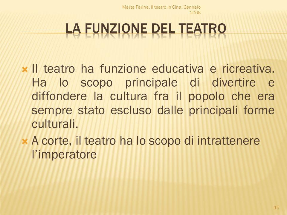 Il teatro ha funzione educativa e ricreativa. Ha lo scopo principale di divertire e diffondere la cultura fra il popolo che era sempre stato escluso d