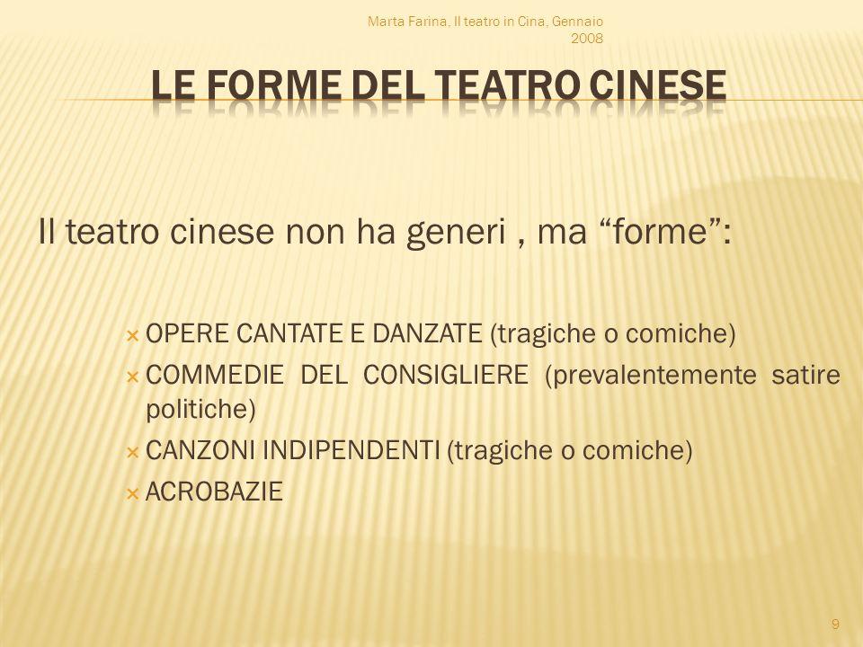 Il teatro cinese non ha generi, ma forme: OPERE CANTATE E DANZATE (tragiche o comiche) COMMEDIE DEL CONSIGLIERE (prevalentemente satire politiche) CAN