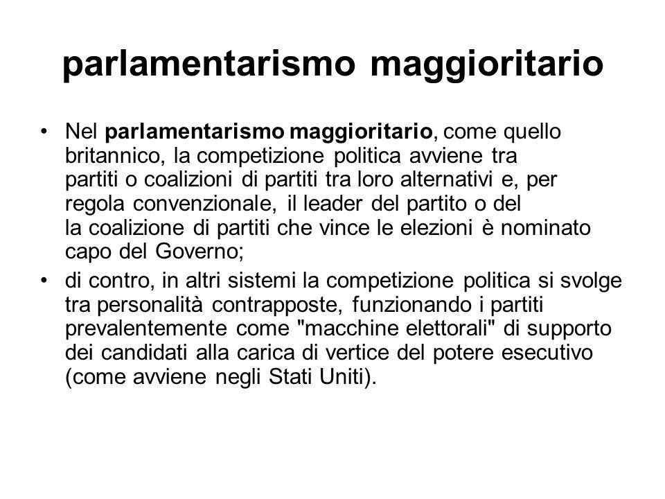parlamentarismo maggioritario Nel parlamentarismo maggioritario, come quello britannico, la competizione politica avviene tra partiti o coalizioni di