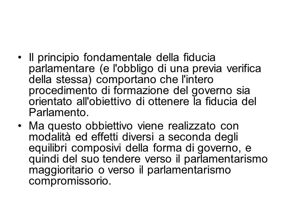 Il principio fondamentale della fiducia parlamentare (e l'obbligo di una previa verifica della stessa) comportano che l'intero procedimento di formazi