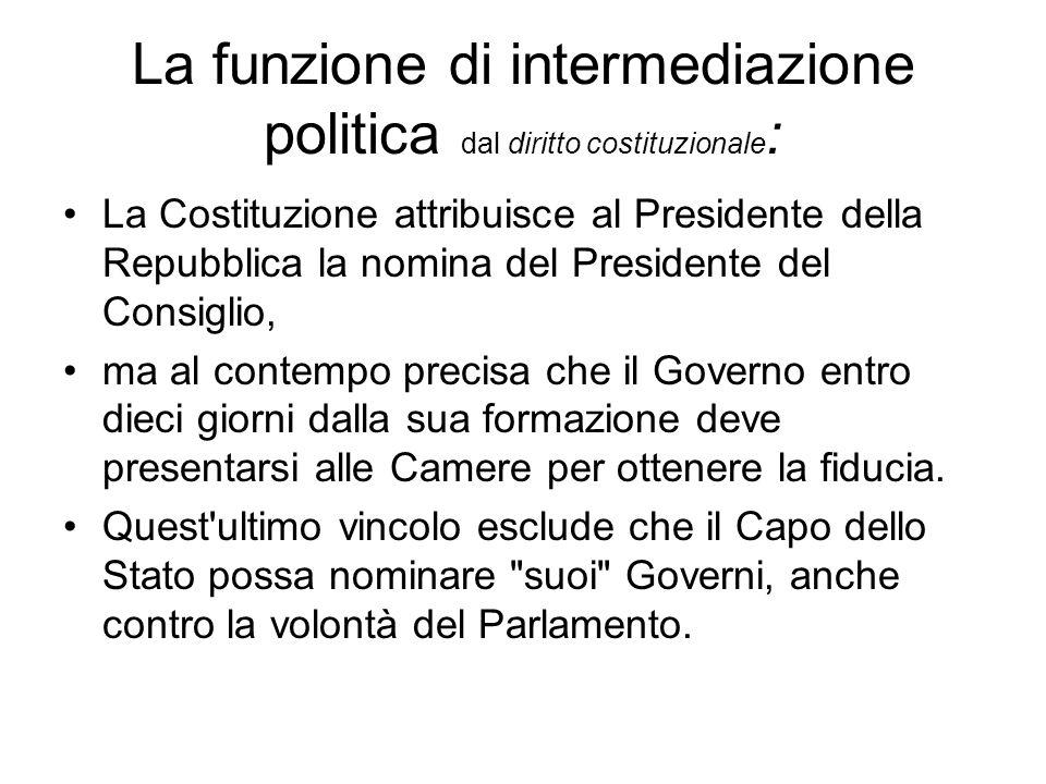 La funzione di intermediazione politica dal diritto costituzionale : La Costituzione attribuisce al Presidente della Repubblica la nomina del Presiden
