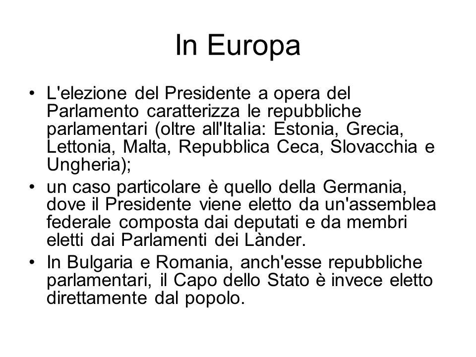 In Europa L'elezione del Presidente a opera del Parlamento caratterizza le repubbliche parlamentari (oltre all'Italia: Estonia, Grecia, Lettonia, Malt