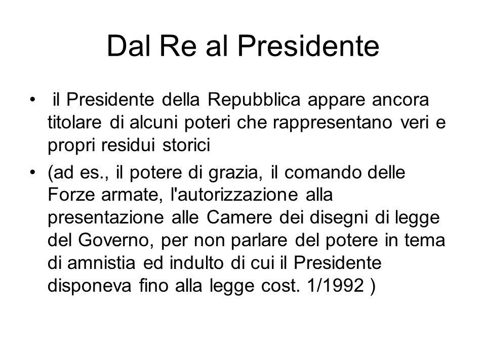 Dal Re al Presidente il Presidente della Repubblica appare ancora titolare di alcuni poteri che rappresentano veri e propri residui storici (ad es., i
