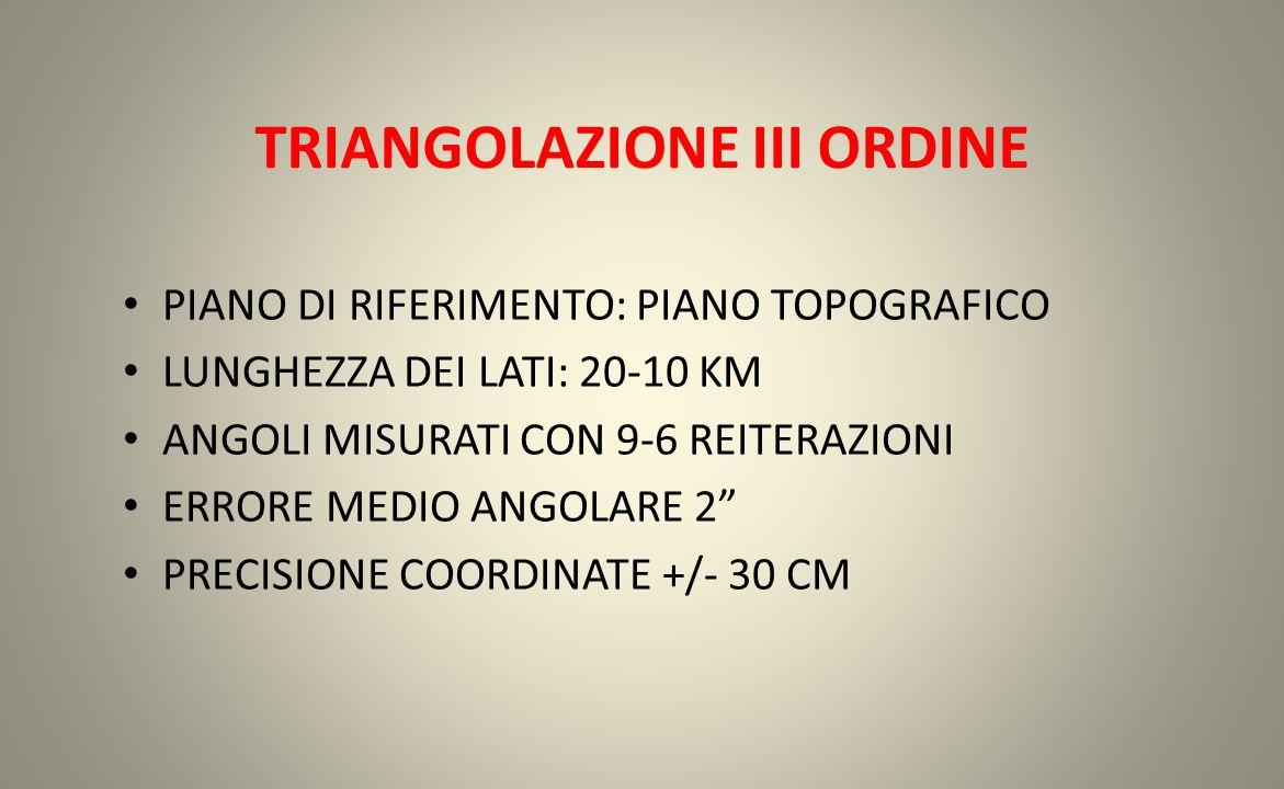 TRIANGOLAZIONE III ORDINE PIANO DI RIFERIMENTO: PIANO TOPOGRAFICO LUNGHEZZA DEI LATI: 20-10 KM ANGOLI MISURATI CON 9-6 REITERAZIONI ERRORE MEDIO ANGOL