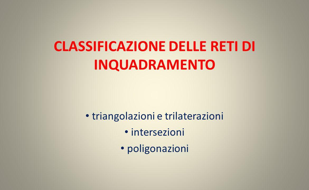 CLASSIFICAZIONE DELLE RETI DI INQUADRAMENTO triangolazioni e trilaterazioni intersezioni poligonazioni