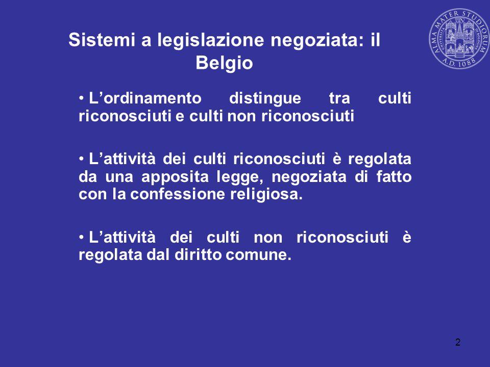 2 Sistemi a legislazione negoziata: il Belgio Lordinamento distingue tra culti riconosciuti e culti non riconosciuti Lattività dei culti riconosciuti