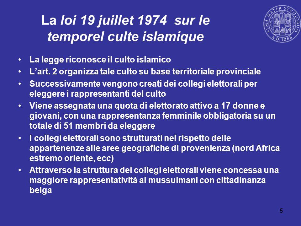 5 La loi 19 juillet 1974 sur le temporel culte islamique La legge riconosce il culto islamico Lart. 2 organizza tale culto su base territoriale provin