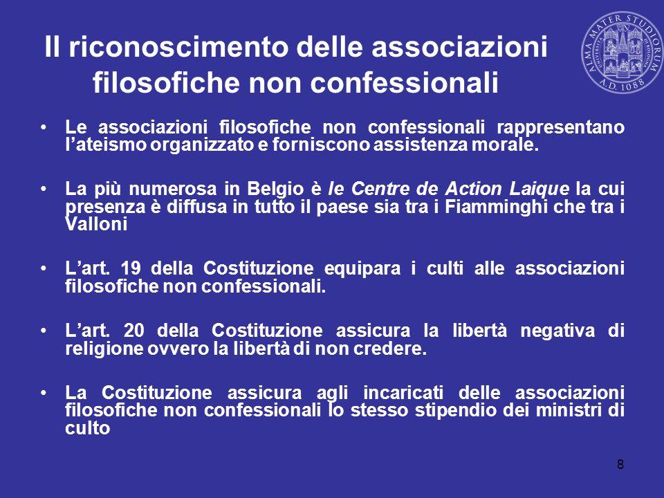8 Il riconoscimento delle associazioni filosofiche non confessionali Le associazioni filosofiche non confessionali rappresentano lateismo organizzato