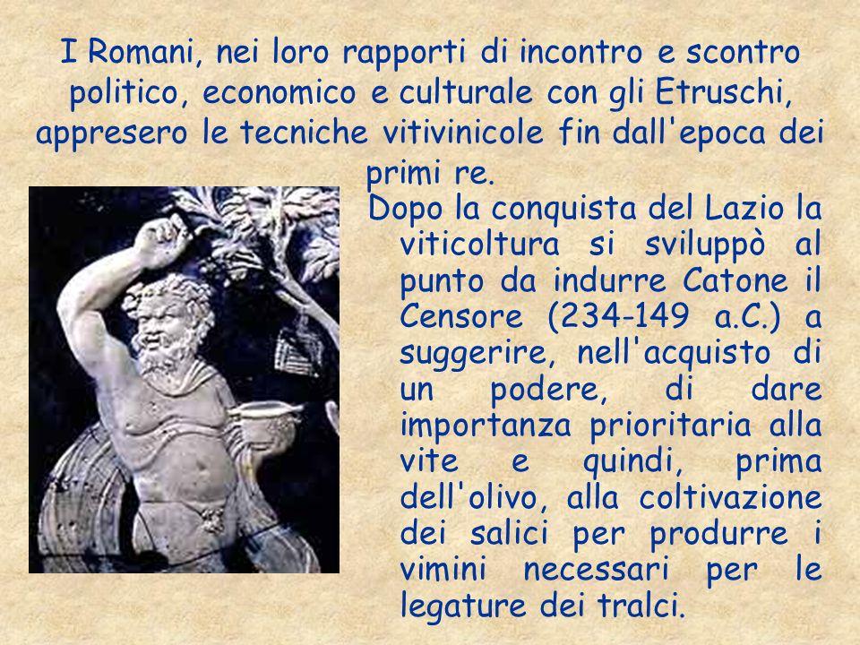 I Romani, nei loro rapporti di incontro e scontro politico, economico e culturale con gli Etruschi, appresero le tecniche vitivinicole fin dall'epoca