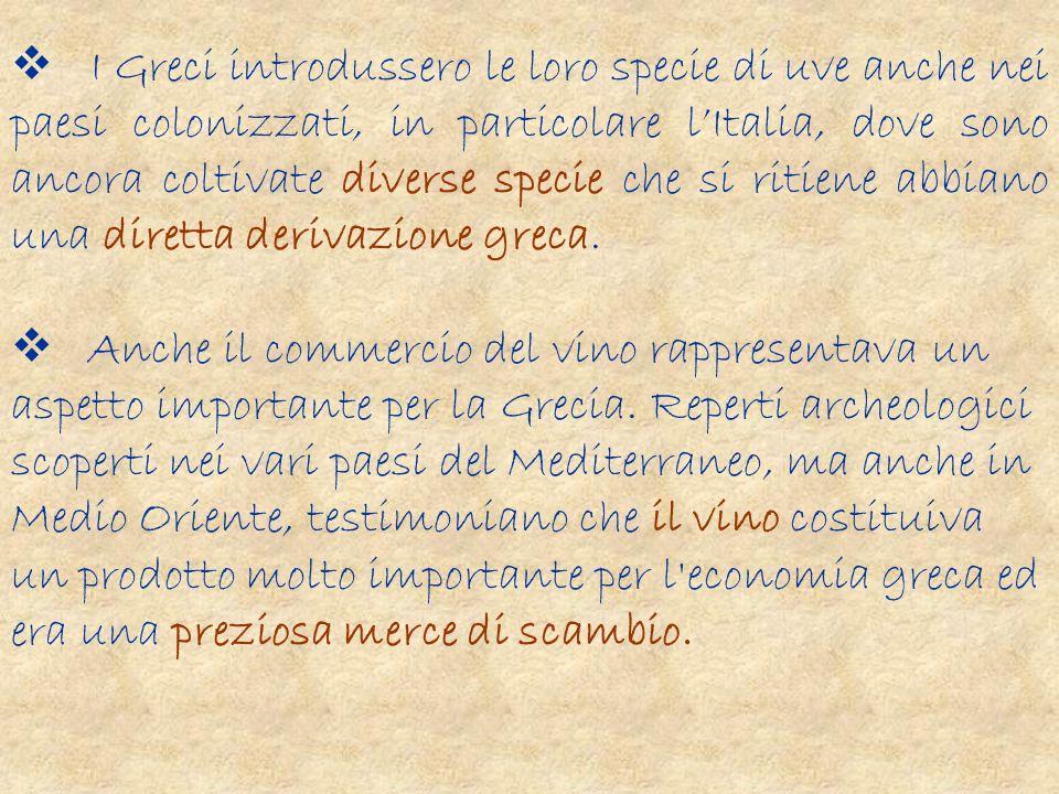 Il vino prodotto nell antica Grecia era piuttosto diverso dal vino che siamo soliti apprezzare ai giorni nostri.