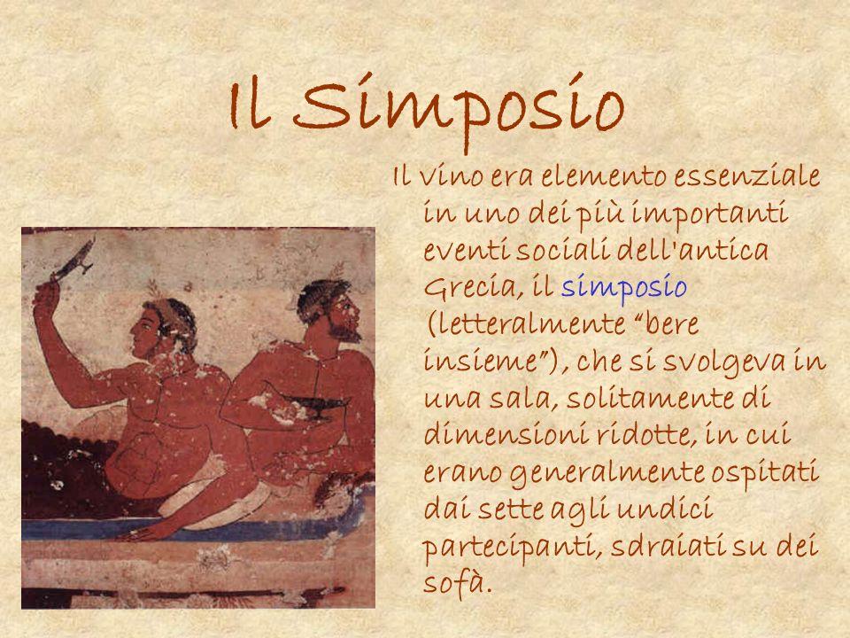 Il Simposio Il vino era elemento essenziale in uno dei più importanti eventi sociali dell'antica Grecia, il simposio (letteralmente bere insieme), che