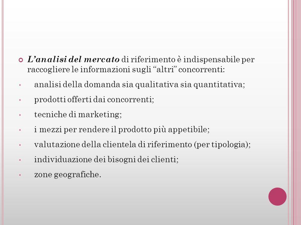 Lanalisi del mercato di riferimento è indispensabile per raccogliere le informazioni sugli altri concorrenti: analisi della domanda sia qualitativa si