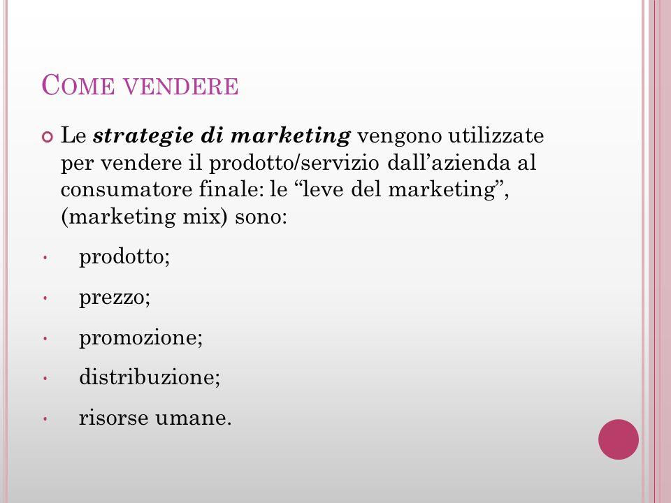 C OME VENDERE Le strategie di marketing vengono utilizzate per vendere il prodotto/servizio dallazienda al consumatore finale: le leve del marketing,