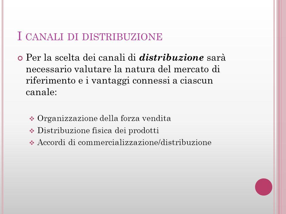 I CANALI DI DISTRIBUZIONE Per la scelta dei canali di distribuzione sarà necessario valutare la natura del mercato di riferimento e i vantaggi conness