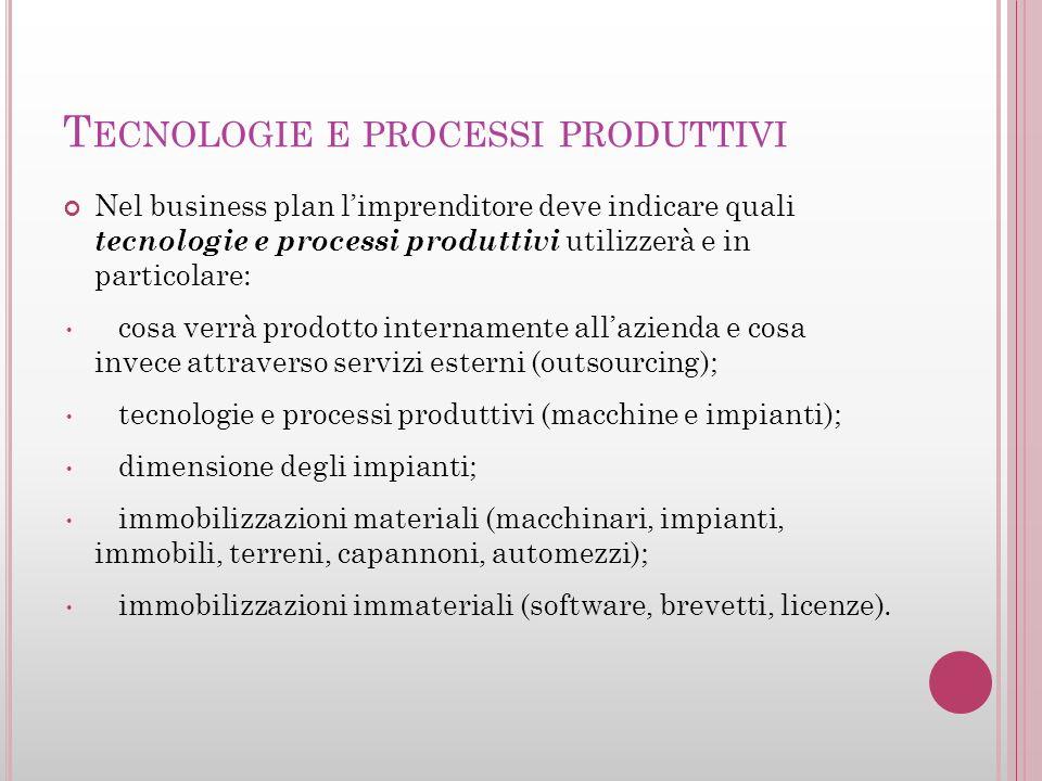 T ECNOLOGIE E PROCESSI PRODUTTIVI Nel business plan limprenditore deve indicare quali tecnologie e processi produttivi utilizzerà e in particolare: co
