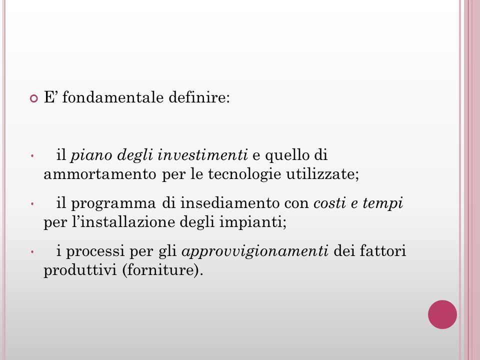 E fondamentale definire: il piano degli investimenti e quello di ammortamento per le tecnologie utilizzate; il programma di insediamento con costi e t