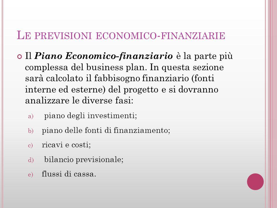 L E PREVISIONI ECONOMICO - FINANZIARIE Il Piano Economico-finanziario è la parte più complessa del business plan. In questa sezione sarà calcolato il
