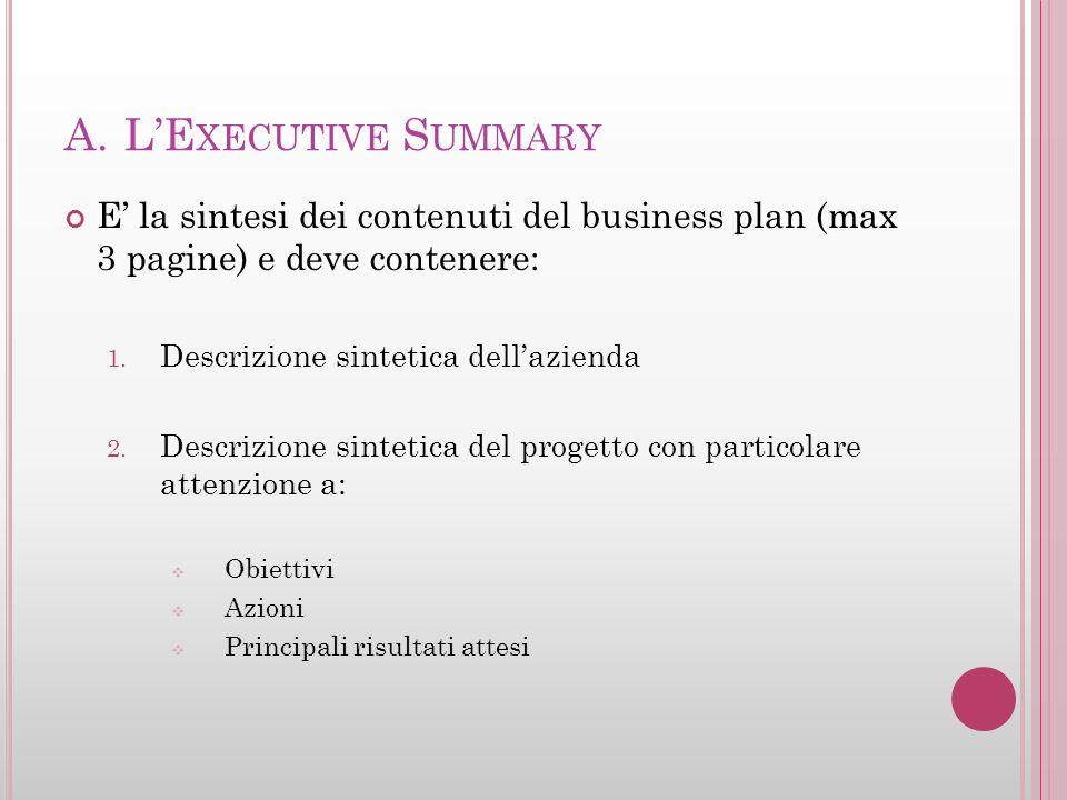 A.LE XECUTIVE S UMMARY E la sintesi dei contenuti del business plan (max 3 pagine) e deve contenere: 1. Descrizione sintetica dellazienda 2. Descrizio