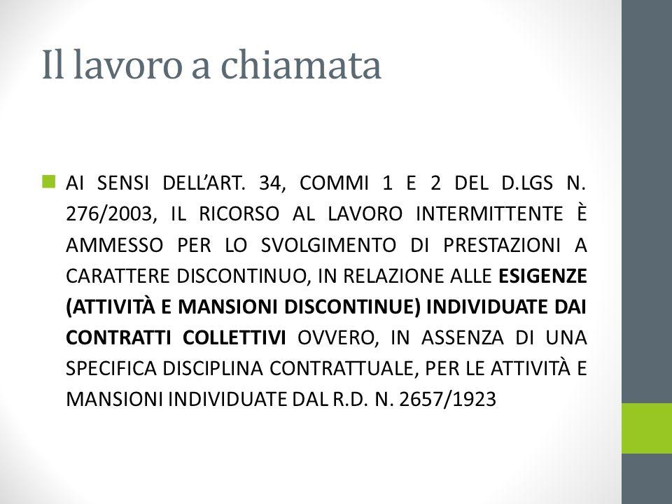 Il lavoro a chiamata AI SENSI DELLART. 34, COMMI 1 E 2 DEL D.LGS N. 276/2003, IL RICORSO AL LAVORO INTERMITTENTE È AMMESSO PER LO SVOLGIMENTO DI PREST