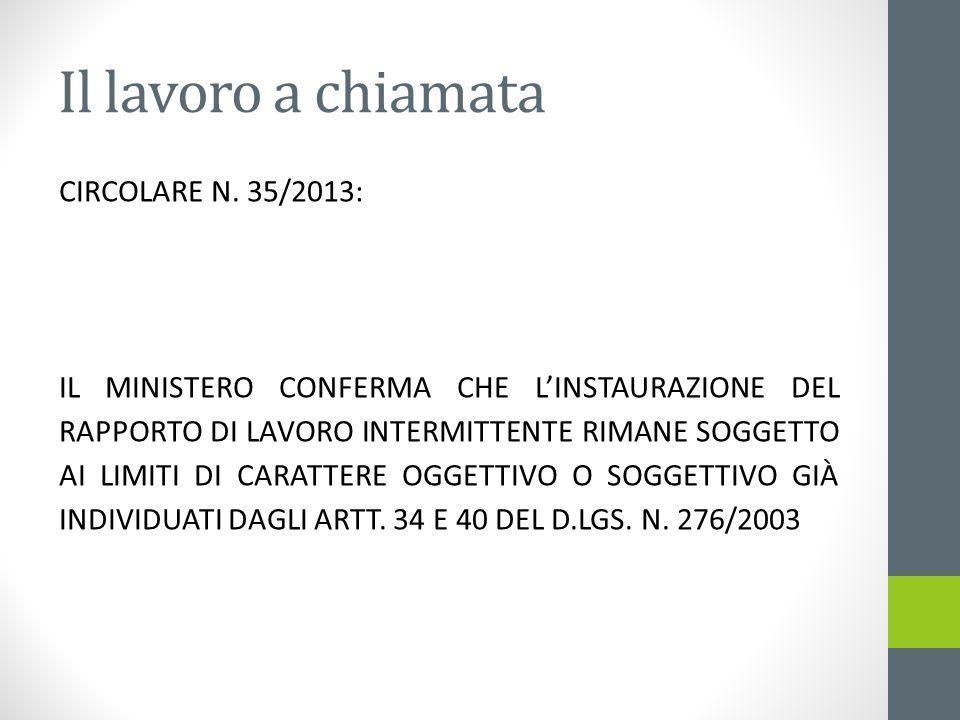 Il lavoro a chiamata CIRCOLARE N. 35/2013: IL MINISTERO CONFERMA CHE LINSTAURAZIONE DEL RAPPORTO DI LAVORO INTERMITTENTE RIMANE SOGGETTO AI LIMITI DI