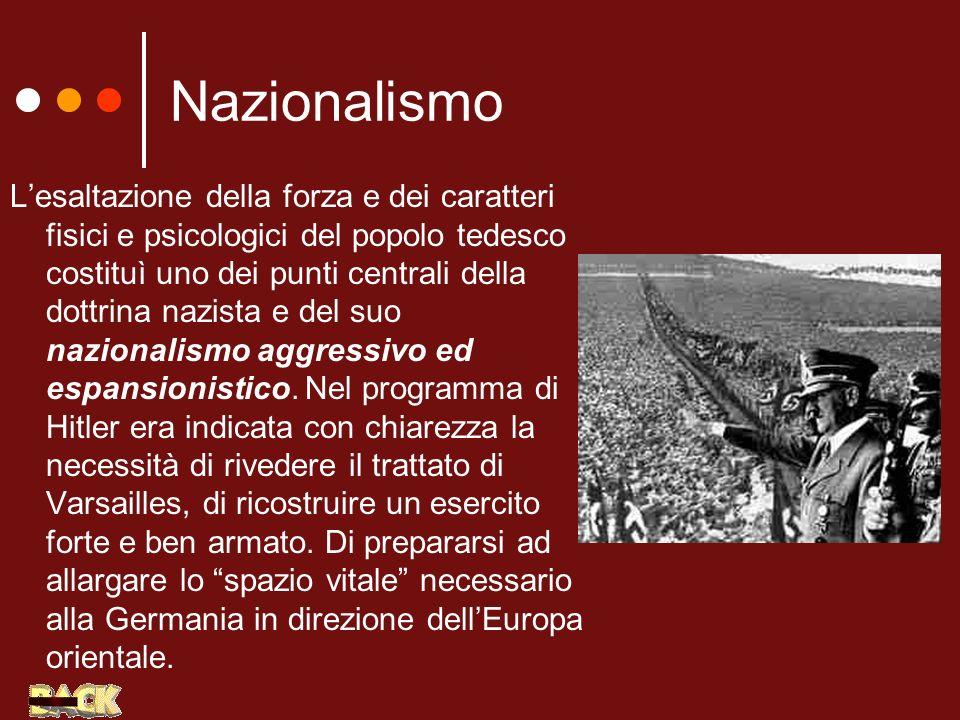 Nazionalismo Lesaltazione della forza e dei caratteri fisici e psicologici del popolo tedesco costituì uno dei punti centrali della dottrina nazista e