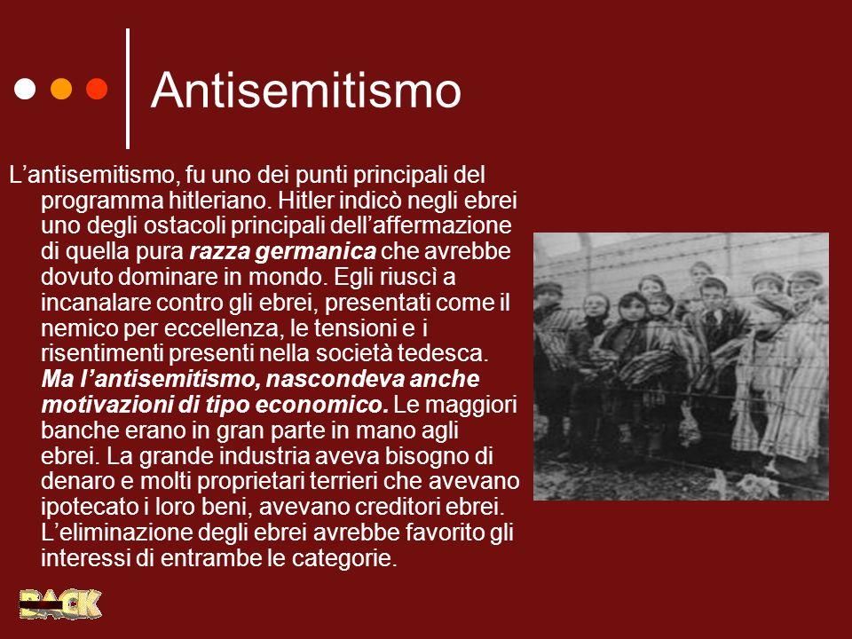Antisemitismo Lantisemitismo, fu uno dei punti principali del programma hitleriano. Hitler indicò negli ebrei uno degli ostacoli principali dellafferm