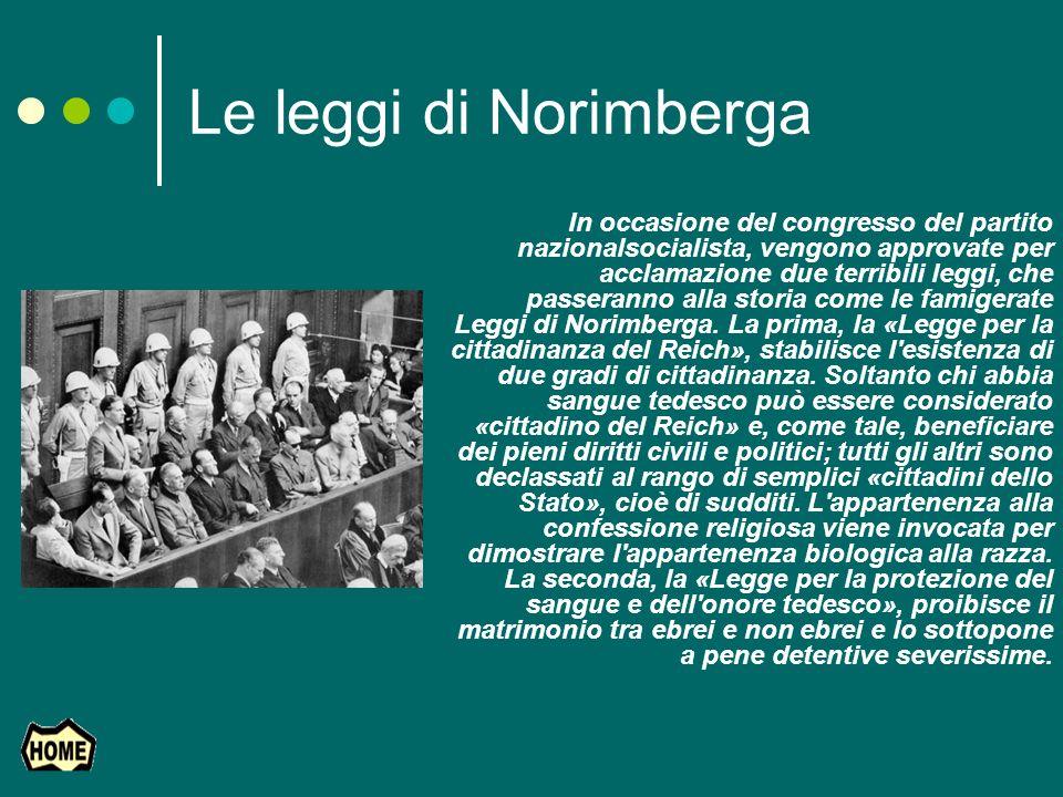 Le leggi di Norimberga In occasione del congresso del partito nazionalsocialista, vengono approvate per acclamazione due terribili leggi, che passeran
