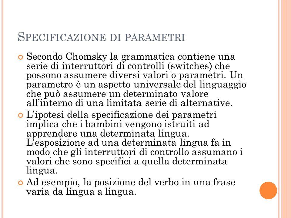 S PECIFICAZIONE DI PARAMETRI Secondo Chomsky la grammatica contiene una serie di interruttori di controlli (switches) che possono assumere diversi valori o parametri.