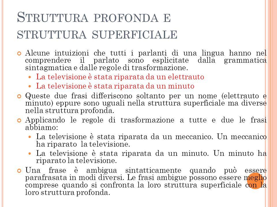 S TRUTTURA PROFONDA E STRUTTURA SUPERFICIALE Alcune intuizioni che tutti i parlanti di una lingua hanno nel comprendere il parlato sono esplicitate dalla grammatica sintagmatica e dalle regole di trasformazione.