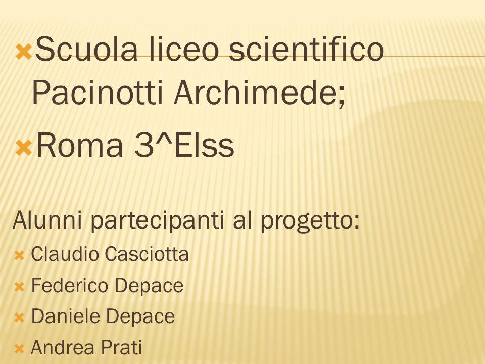 Scuola liceo scientifico Pacinotti Archimede; Roma 3^Elss Alunni partecipanti al progetto: Claudio Casciotta Federico Depace Daniele Depace Andrea Pra