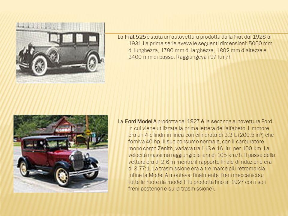 La Fiat 525 è stata unautovettura prodotta dalla Fiat dal 1928 al 1931.La prima serie aveva le seguenti dimensioni: 5000 mm di lunghezza, 1780 mm di l