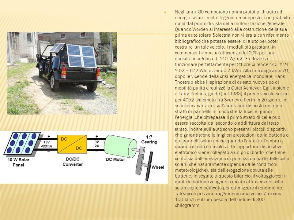 Negli anni 80 compaiono i primi prototipi di auto ad energia solare, molto leggeri e monoposto, con praticità nulla dal punto di vista della motorizza
