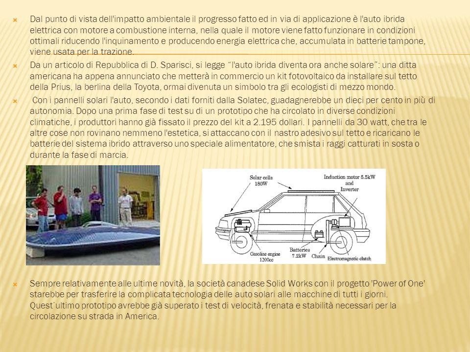 Dal punto di vista dell'impatto ambientale il progresso fatto ed in via di applicazione è l'auto ibrida elettrica con motore a combustione interna, ne