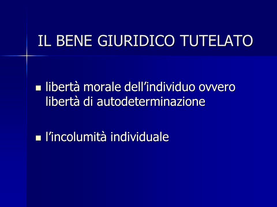 IL BENE GIURIDICO TUTELATO libertà morale dellindividuo ovvero libertà di autodeterminazione libertà morale dellindividuo ovvero libertà di autodeterminazione lincolumità individuale lincolumità individuale