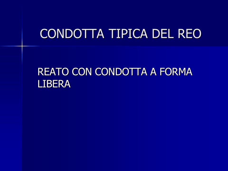 CONDOTTA TIPICA DEL REO REATO CON CONDOTTA A FORMA LIBERA